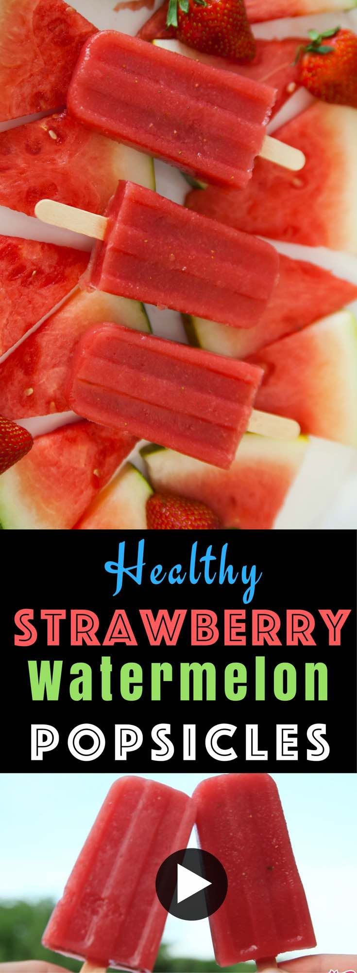 Healthy Strawberry Watermelon Popsicles – So easy to make and perfect for a summertime treat! All you need is only 3 simple ingredients: watermelon, strawberries and lime! Kids friendly, quick and easy recipe, no bake recipe, vegan recipe. Video recipe. | Tipbuzz.com