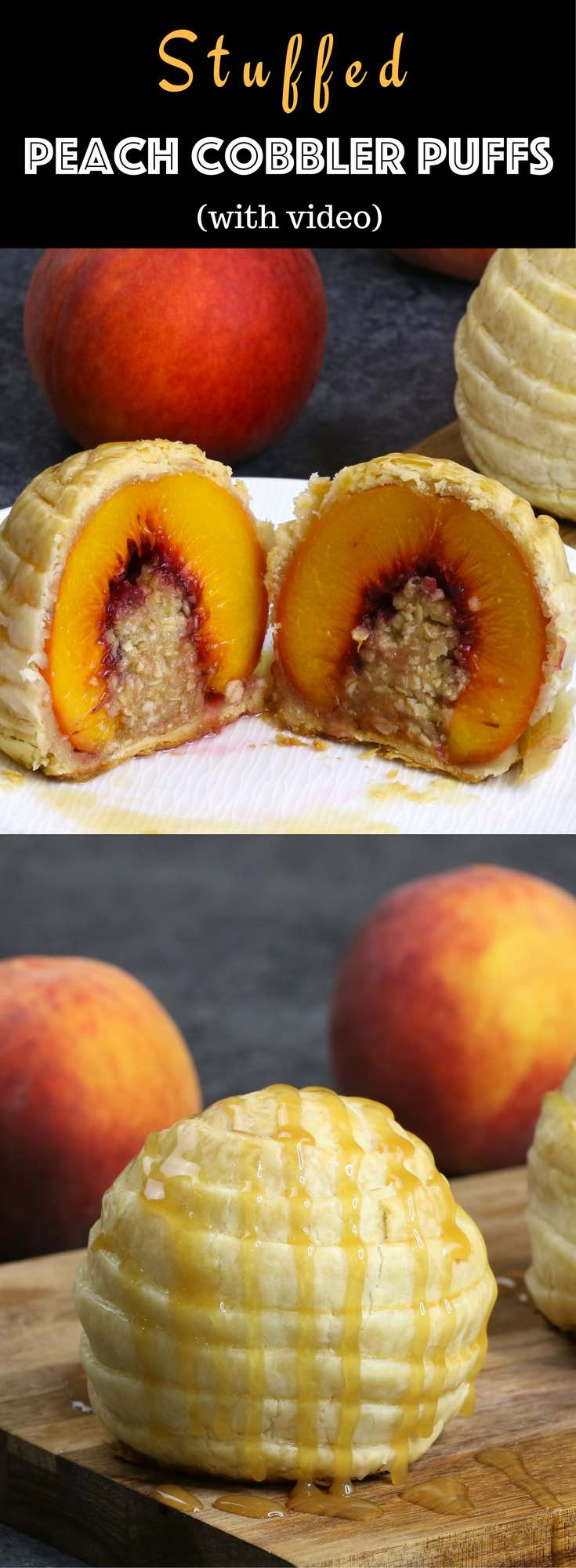 Stuffed Peach Cobbler Puffs – Tender and moist fresh peach stuffed with sweet crumbles, and then wrapped with pie crust. Makes a delicious summer dessert and will definitely wow your family and friends. And it's simple to make! All you need is fresh peaches, butter, brown sugar, flour oats and pie crust. So Good! Quick and easy recipe. Party food. Great for a holiday brunch. Video recipe. | Tipbuzz.com
