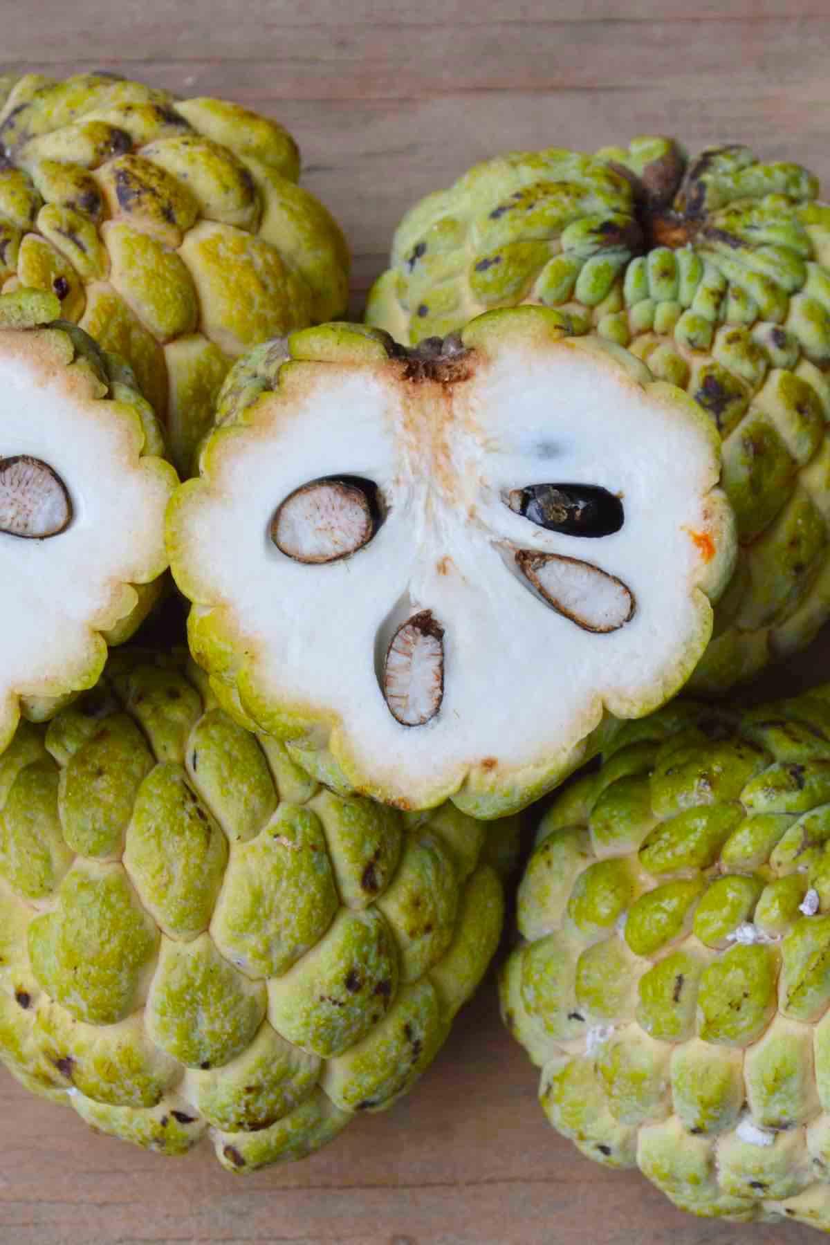 Cross-section of ripe sugar apples
