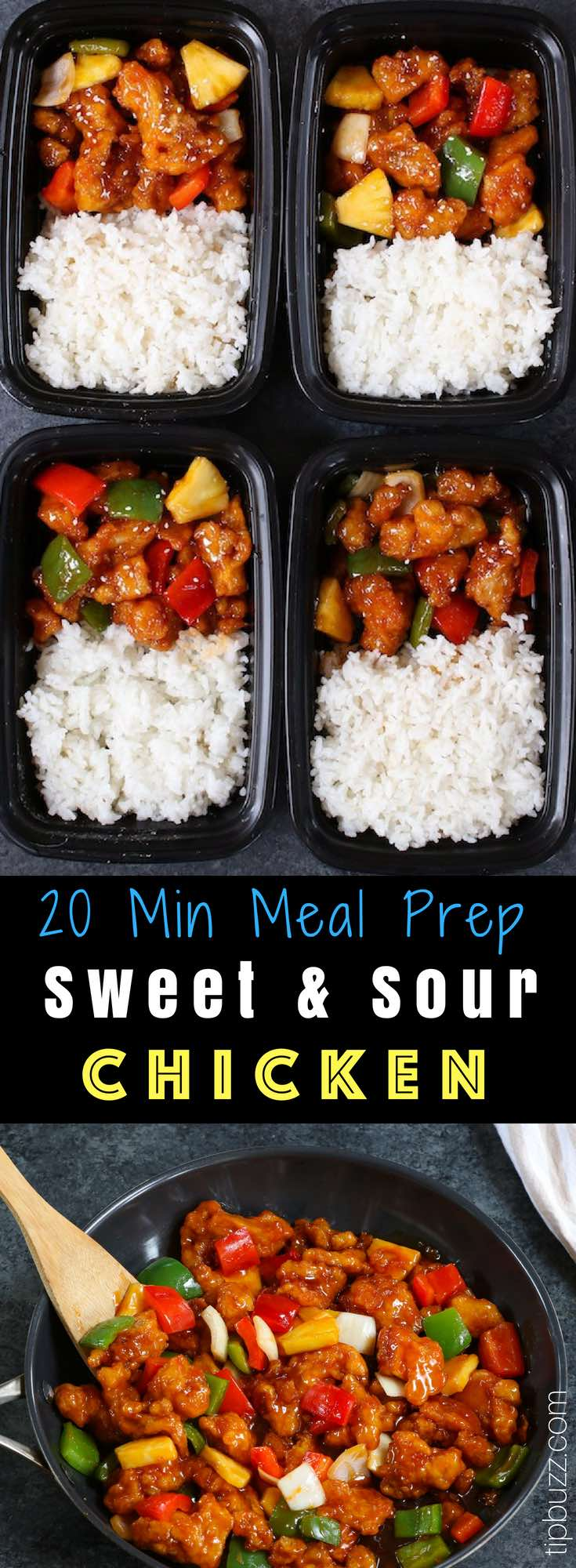This Sweet and Sour Chicken is tender and crispy with bell peppers and pineapple in an irresistible sweet and sour sauce. It's ready in just 20 minutes and makes a quick weeknight dinner that's so much better than takeout from Chinese restaurants! #SweetAndSourChicken #MealPrep #ChickenMealPrep