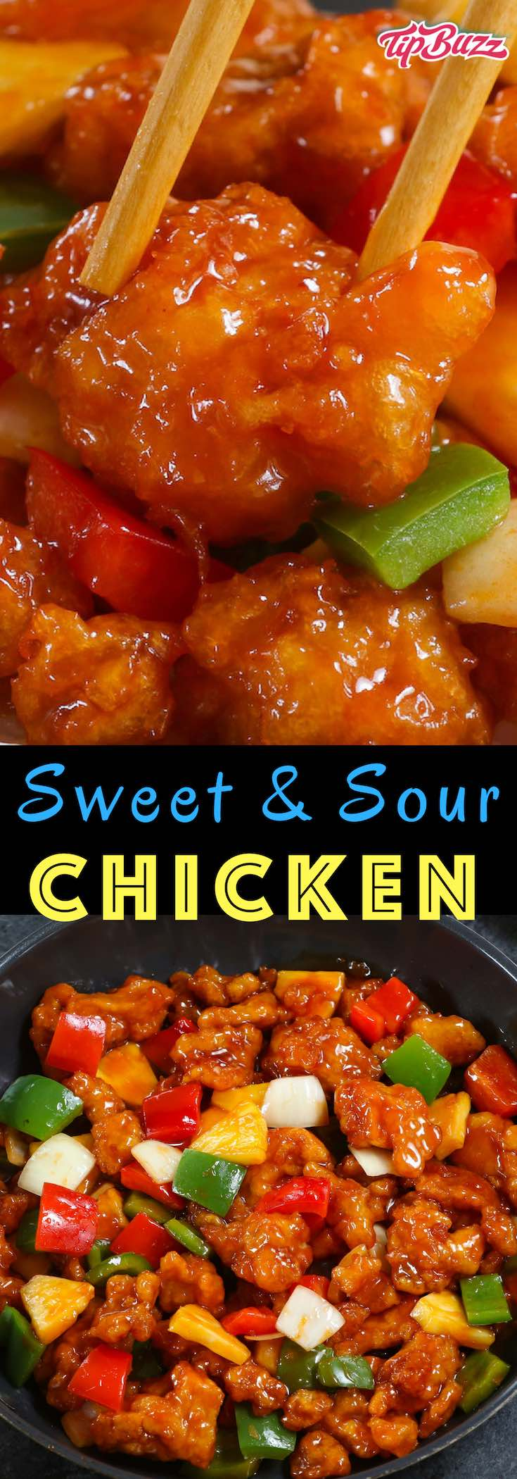 Sweet and Sour Chicken has the most delicious crispy chicken with chunks of onion, bell pepper and pineapple in a homemade sweet and sour sauce. Serve on top of rice for a quick weeknight dinner.