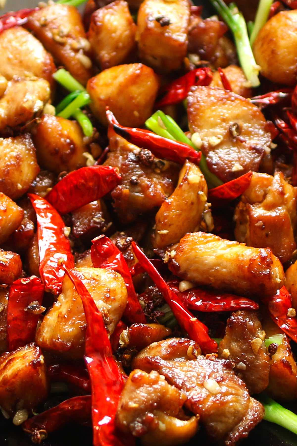 SzechuanChicken is an easy Chinese dish with the perfect combination of spicy, salty and sweet flavors. This Szechuan style chicken recipe tastes like your favorite Chinese takeout and is ready in less time. The best part, you can control the spiciness to make it mild or EXTRA HOT!