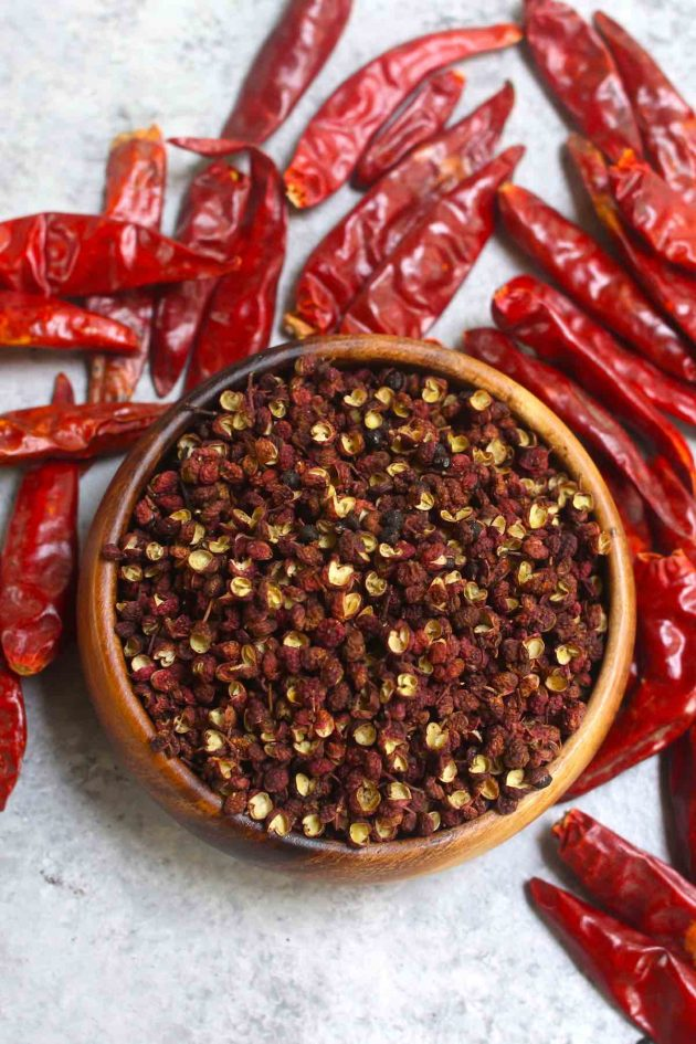Szechuan peppercorn & dried chilis