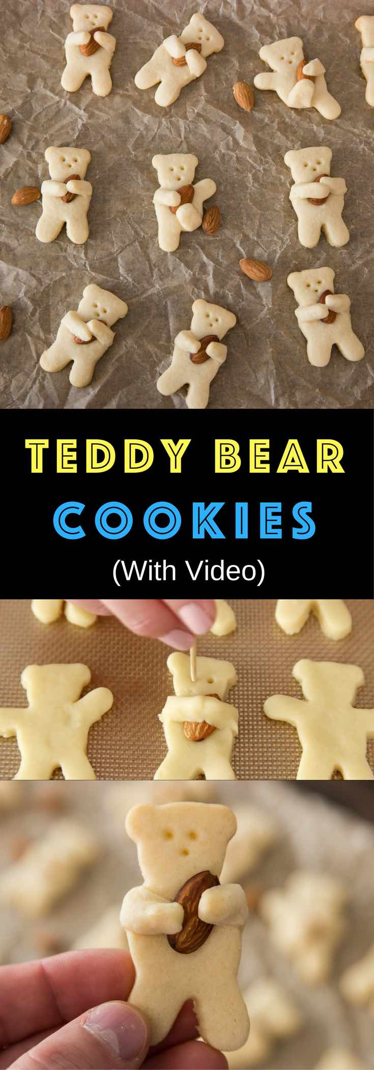 Cutest teddy bear cookies are so delicious and easy to make. All you need is to make the sugar cutter cookie dough, and cut them into teddy bear shapes. Have some fun with different positions: hugging almonds, play football, etc. Quick and easy recipe. Party food. Video recipe. | Tipbuzz.com