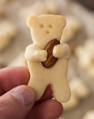 Closeup of a bite-size Teddy Bear Cookie made with sugar cookie dough