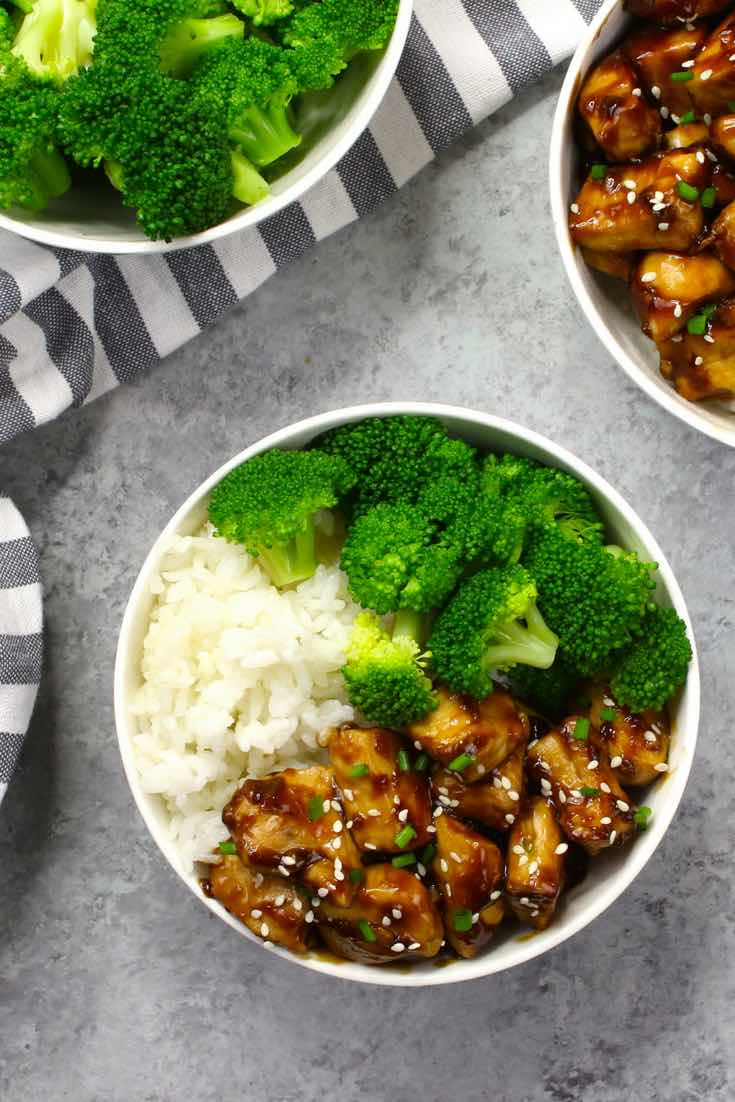 This is an overhead photo of Teriyaki Chicken with broccoli in a rice bowl