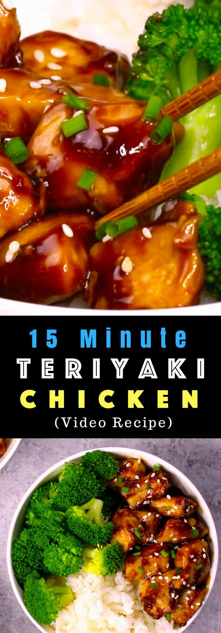 The easiest, most unbelievably delicious Teriyaki Chicken with Rice Bowls. And it'll be on your dinner table in just 15 minutes. It's much better than takeout! All you need is only a few ingredients: chicken breast, soy sauce, cider vinegar, honey and cornstarch. One of the best Asian dinner ideas! Served with rice and broccoli. Quick and easy dinner recipe. Video recipe. | Tipbuzz.com #Teriyaki #TeriyakiChicken #ChickenTeriyaki