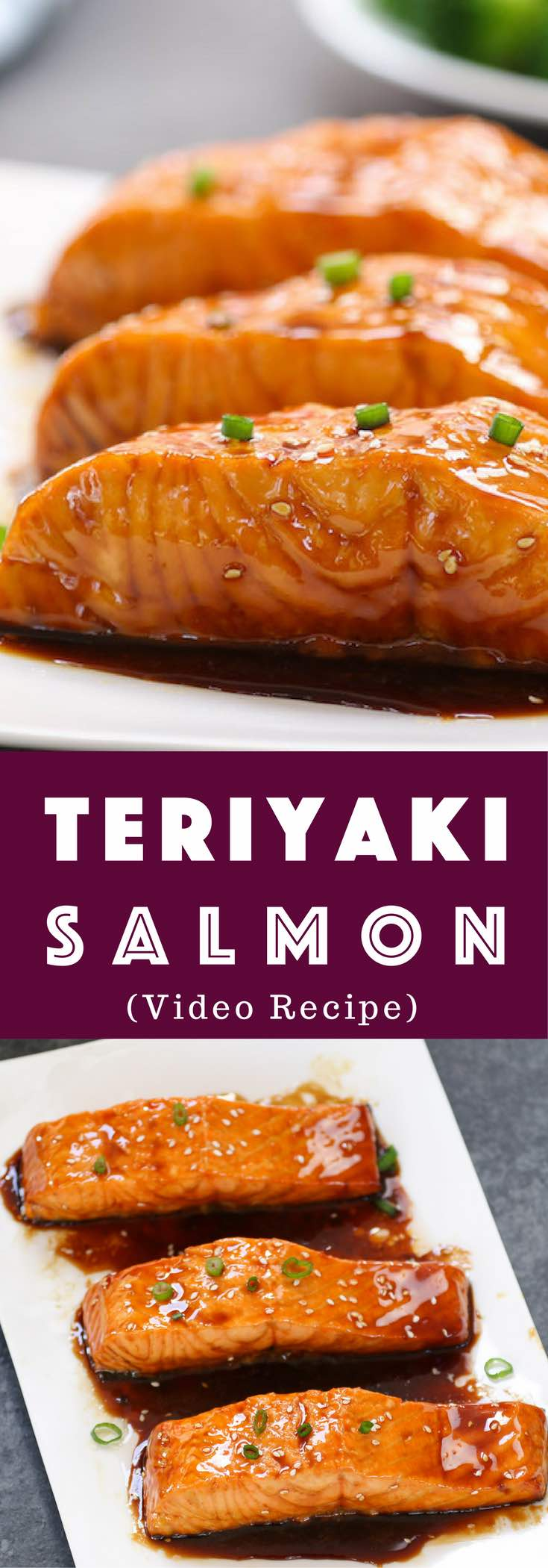 The easiest, most unbelievably delicious Teriyaki Salmon. And it'll be on your dinner table in just 20 minutes. All you need is only a few ingredients: salmon, soy sauce, mirin, white wine and sugar. One of the best Asian dinner ideas! Served with rice and broccoli. Quick and easy dinner recipe. Video recipe. | Tipbuzz.com