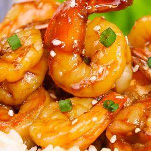 Sautéed shrimp with teriyaki sauce