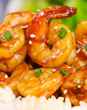 Sautéed shrimp with teriyaki sauce