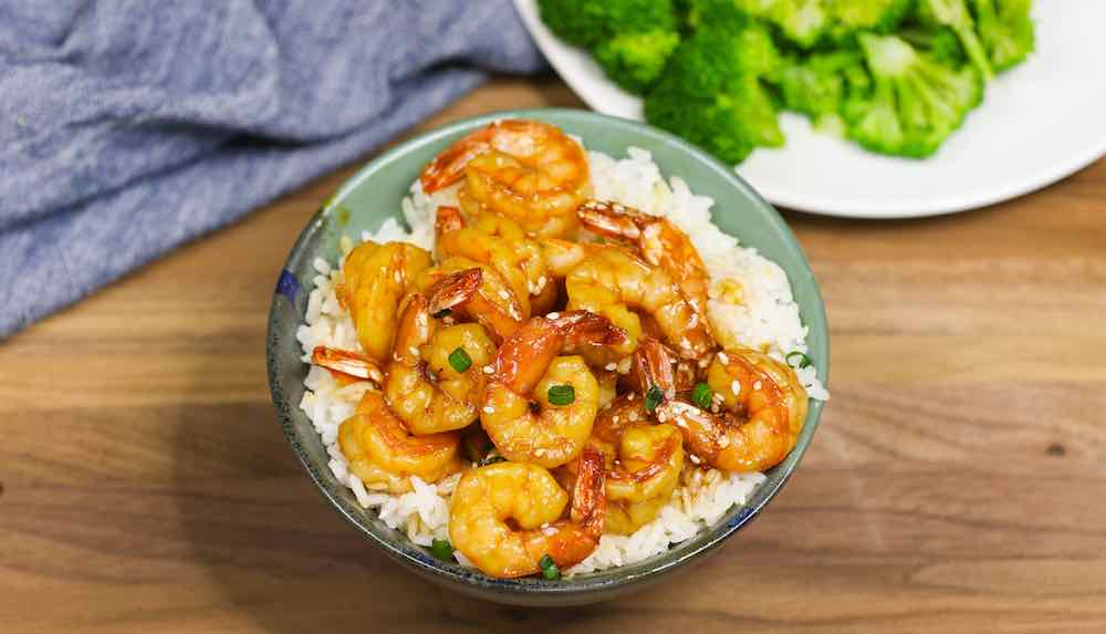 Teriyaki Shrimp served with rice and veggie