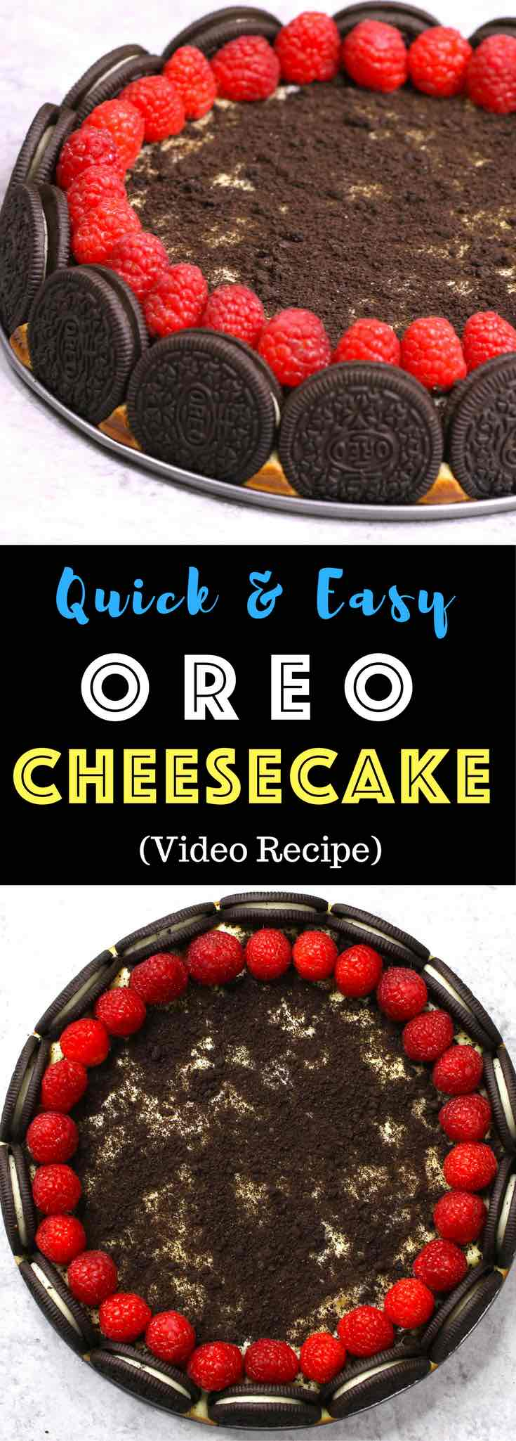 The Best Oreo Cheesecake – the easiest and most beautiful cake topped with cookies and cream crumbs and fresh raspberries. All you need is a few simple ingredients: oreo cookies, cream cheese, sugar, vanilla, eggs, sour cream and raspberries. Great for dessert, brunch, birthday parties or Mother's Day. Video recipe.