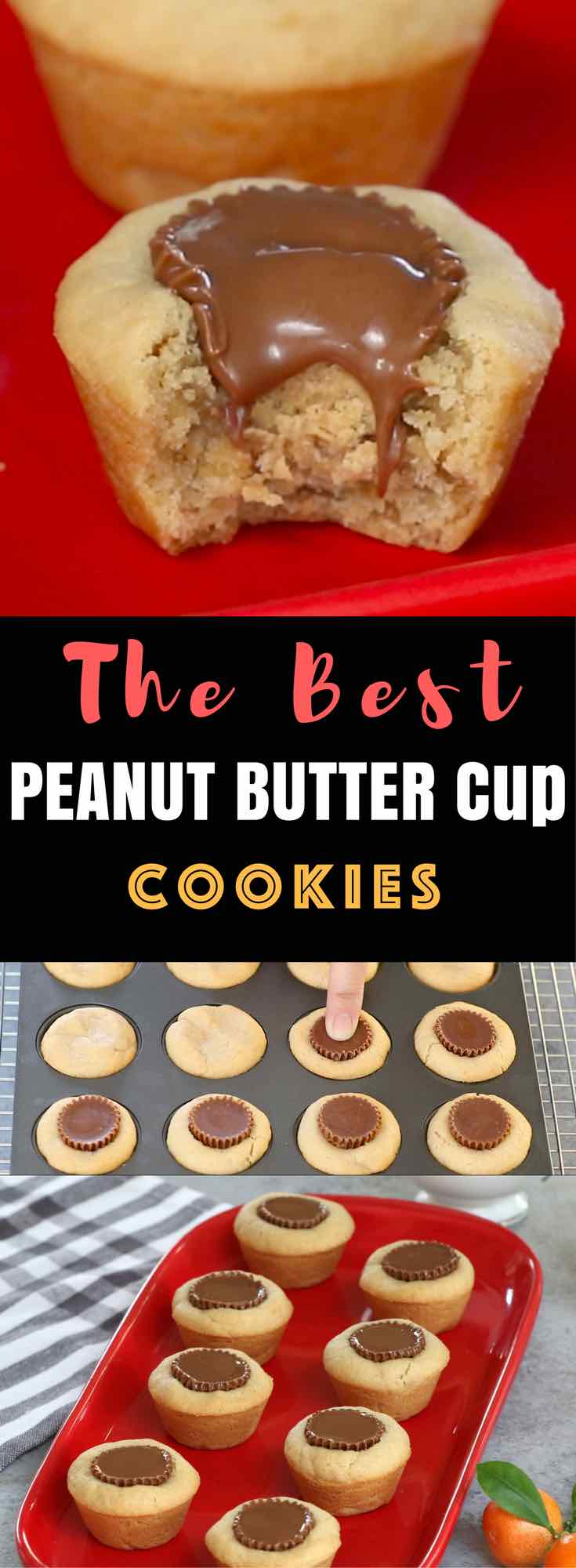 Peanut Butter Cup Cookies –Unbelievably delicious desserts or snacks recipe that's fool proof. Miniature Reese's peanut butter cups stuffed inside soft and chewy cookie cups, creating a wonderful cookie cups that melt in your mouth. All you need is only a few simple ingredients. Fun recipe to make with kids. Quick and Easy recipe that takes only 25 minutes. Dessert, Party Food. Vegetarian. Video recipe. | Tipbuzz.com