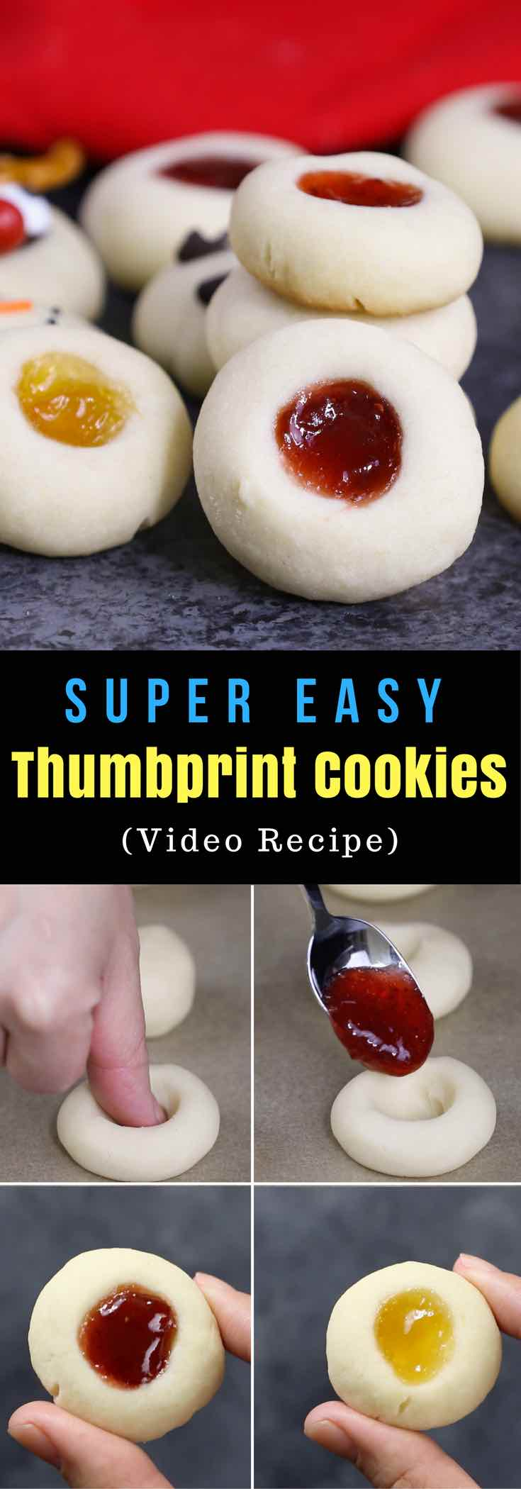 Thumbprint Cookies with 5 fun variations and no chilling required. They are the classic melt-in-your-mouth shortbread cookies and addictive treats for parties, holidays and just everyday and perfect as gifts too. Jam Thumbprint Cookies, Reindeer Thumbprint Cookies, Snowman Thumbprint Cookis, Polar Bear Paw Thumbprint Cookies, and Christmas Thumbprint Cookies