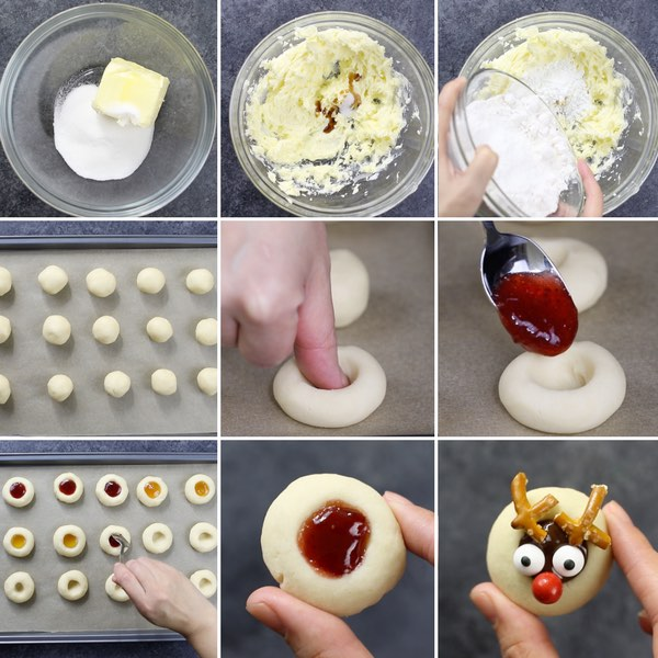 Thumbprint Cookies - this graphic shows the key steps for making thumbprint cookies from scratch