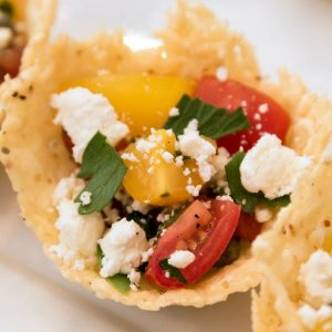 This Heirloom Tomato Salad in Frico Cups is a delicious appetizer for your next party