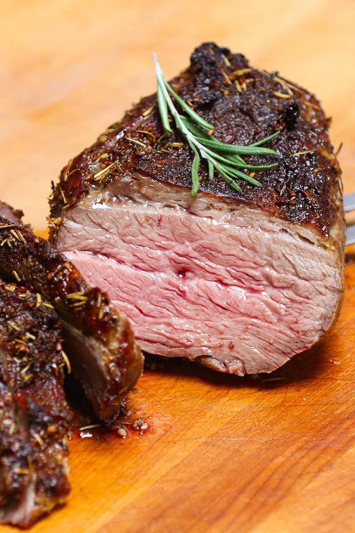 A juicy tri tip roast cooked to medium doneness in the oven