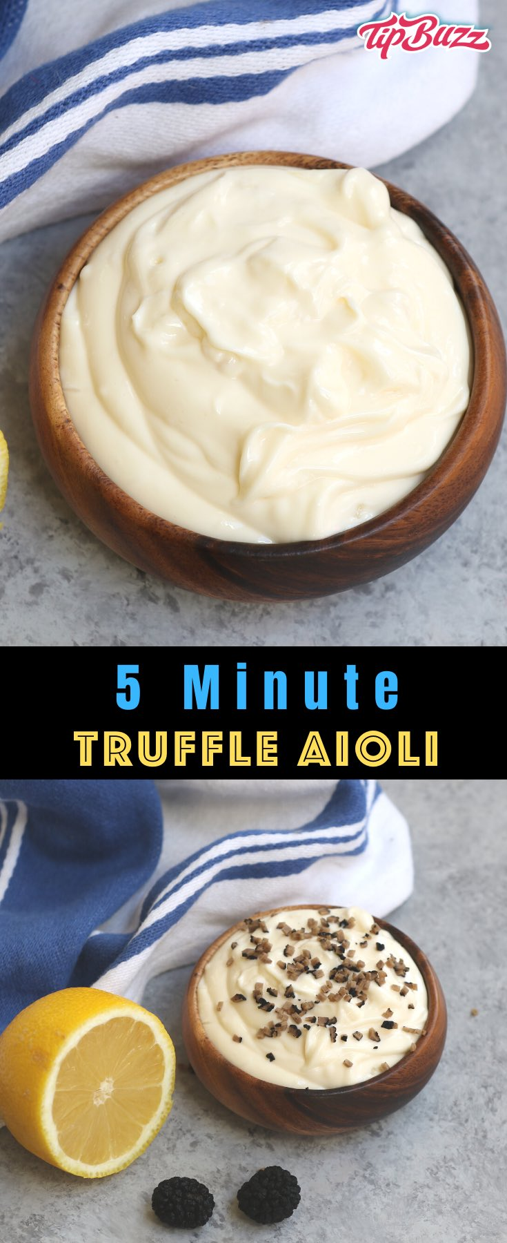 This Homemade Truffle Aioli is a creamy condiment that's easy to make. Spread this homemade truffle mayo onto burgers, sandwiches and seafood for a burst of flavor. Or serve it as a dipping sauce with French fries, onion rings or your favorite vegetables!