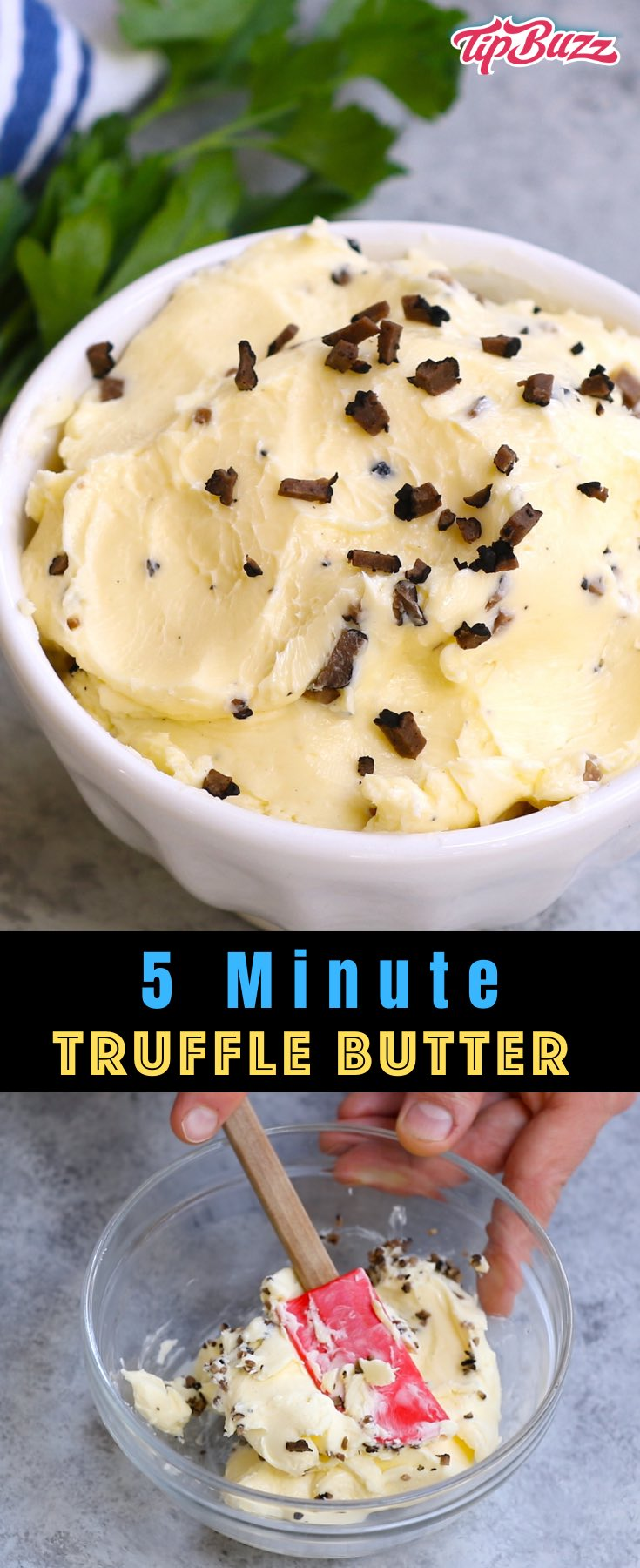 This homemade truffle butter recipe is easy to make with just 3 ingredients! You can use black or white truffles depending on your preference. Use it on steak, seafood, poultry, vegetables, pasta and more!