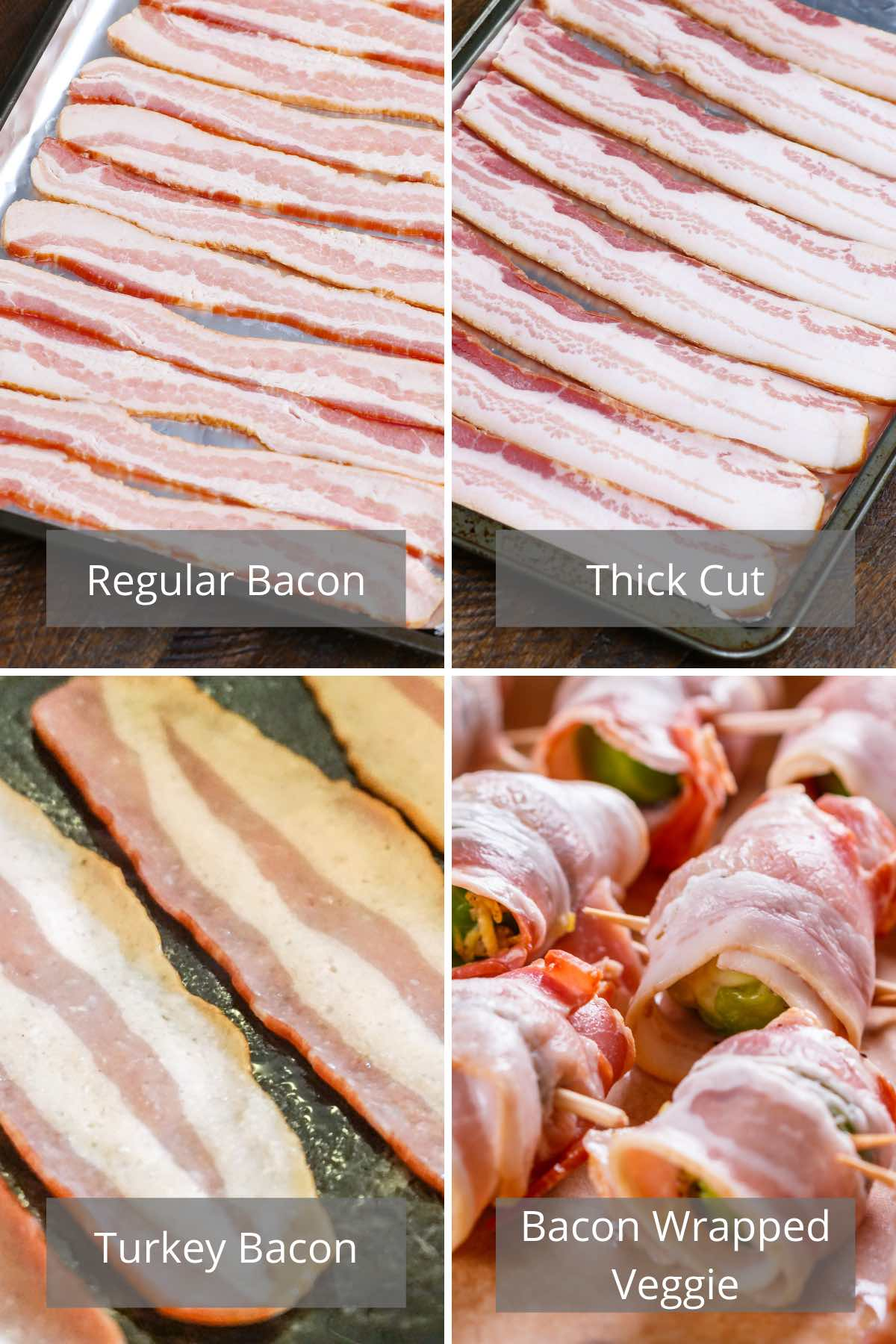 Photo collage showing different types of bacon.
