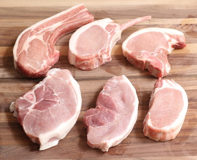 Types of pork chops that can be baked in the oven including rib chops, T-bone chops, boneless pork chops and sirloin pork chops