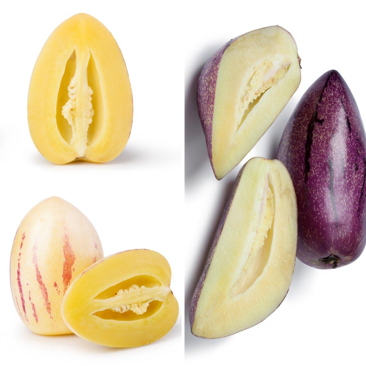 Varieties of pepino melon including orange flesh or purple skin