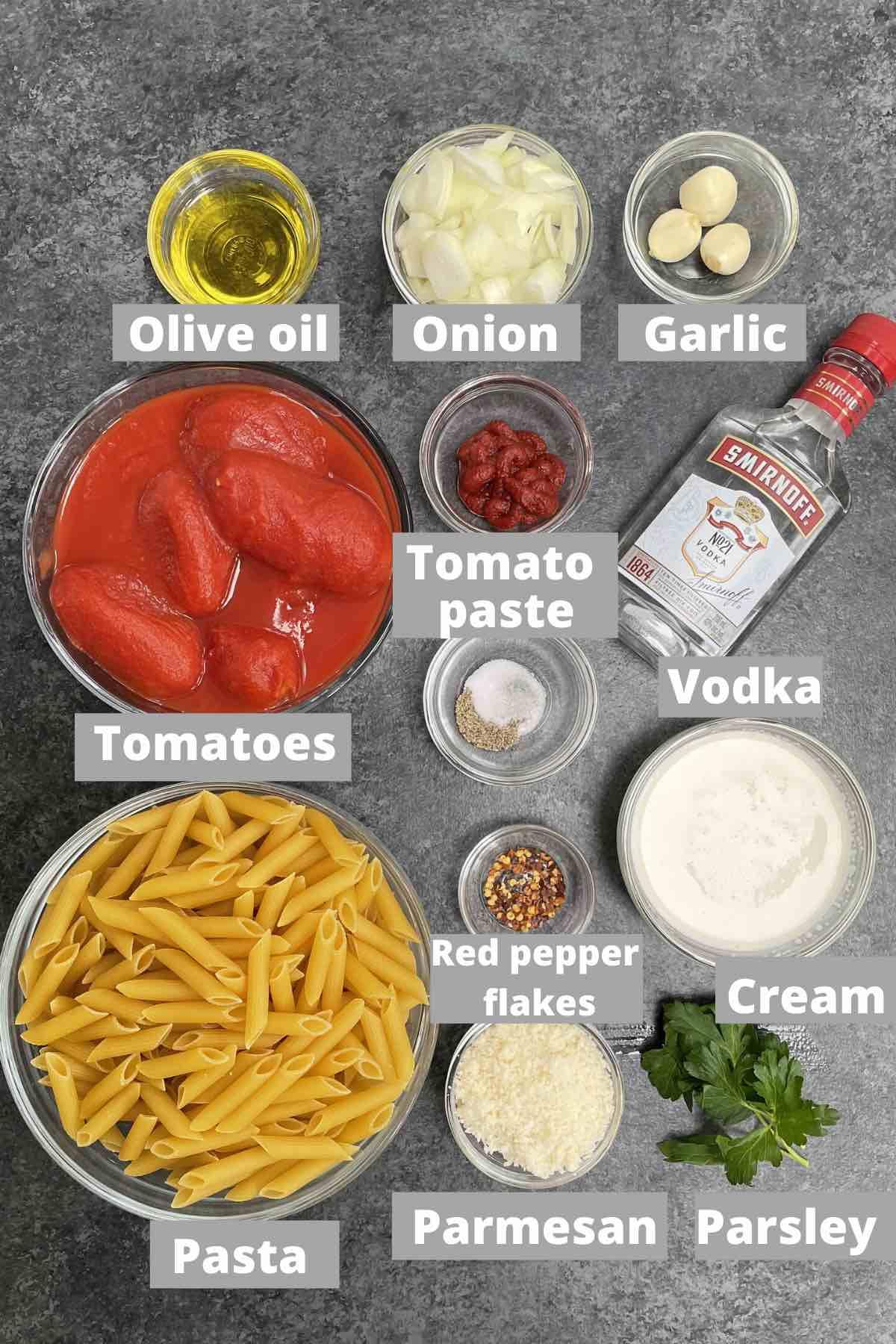 Ingredients for vodka sauce