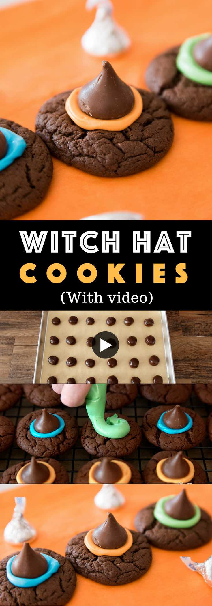 Fun and delicious Witch Hat Cookies are one of the best Halloween recipes. It makes a perfect Halloween party treat. Fun recipe to make with kids. Dessert, Party Food. Vegetarian. Fun and yummy Halloween recipe. Video recipe. | Tipbuzz.com