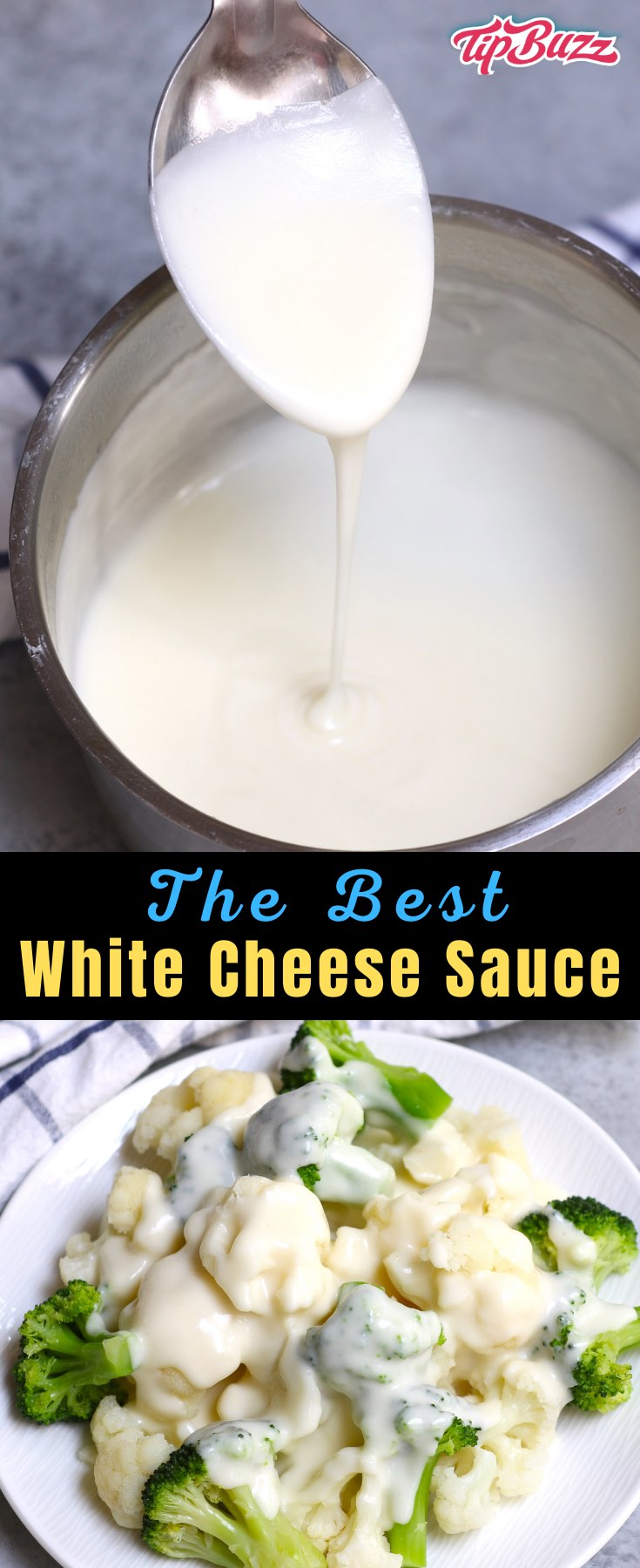 This White Cheese Sauce is creamy and smooth, perfect for drizzling onto vegetables or serving as a hot dip. It's easy to make with just 4 ingredients! #cheesesauce