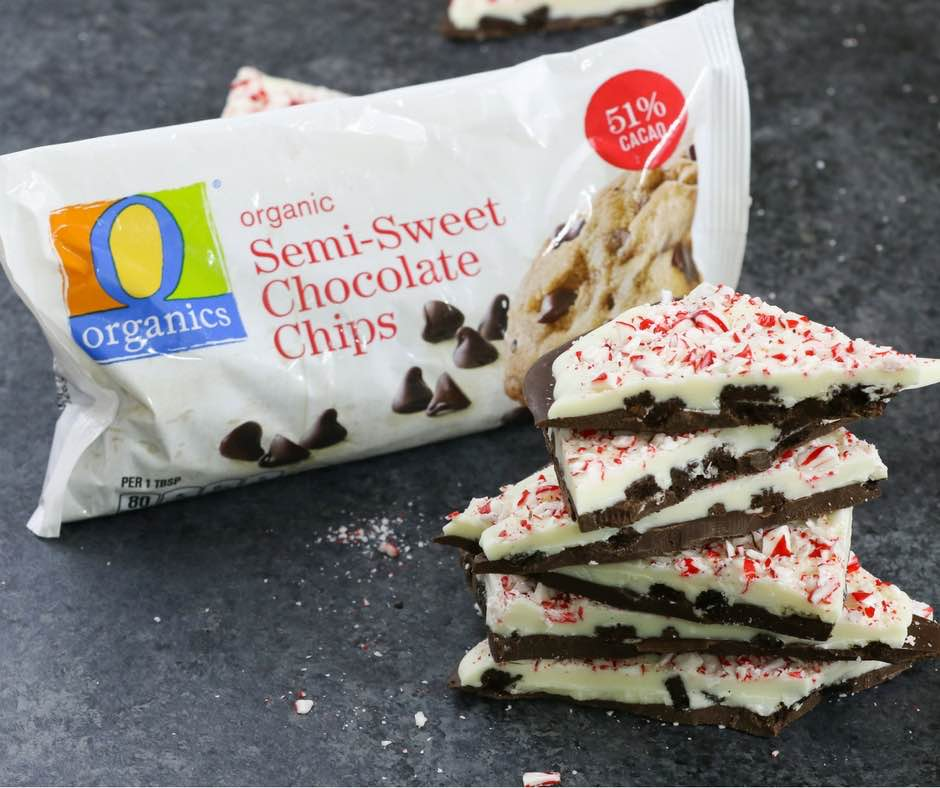 Chocolate bark made with white chocolate, dark chocolate, cookies and cream and crushed peppermint