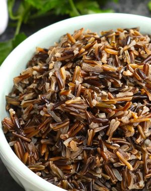 Freshly cooked wild rice in a serving bowl