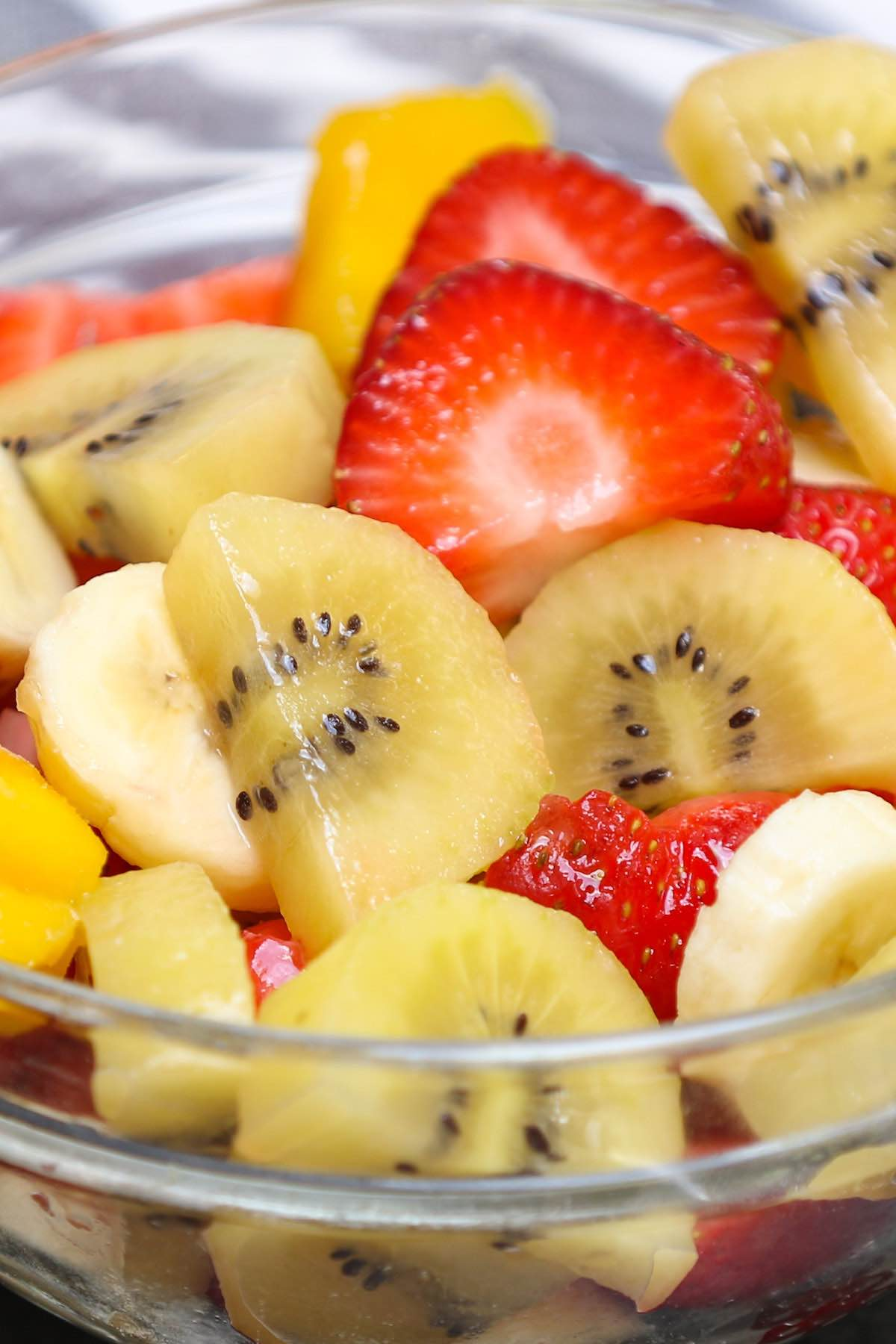Tropical fruit salad in a serving bowl