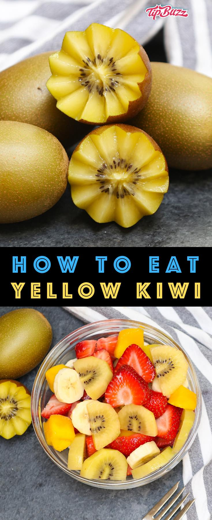 Golden Kiwi Fruit or Yellow Kiwi is a delicious tropical fruits with sweeter flesh and smoother skin than green kiwis. They're known as Zespri SunGolds and can be used in recipes for fruit salads and smoothes. #goldenkiwi #yellowkiwi