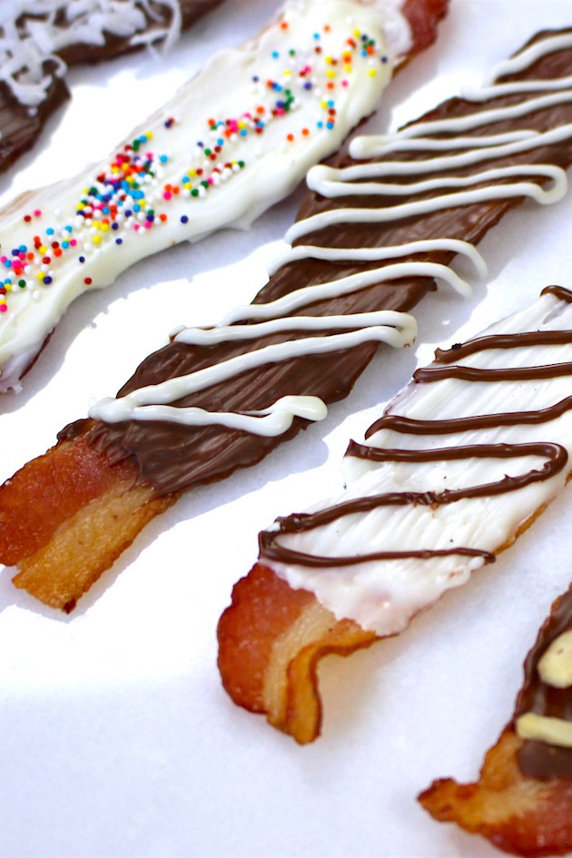 Closeup of chocolate bacon with different white chocolate and milk chocolate designs