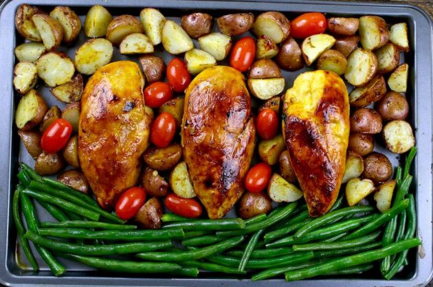 Sheet Pan Baked Chicken Breasts with potatoes, green beans and tomatoes