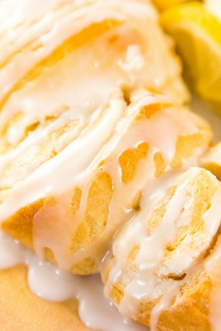 Lemony cream cheese crescent rolls with glaze on top