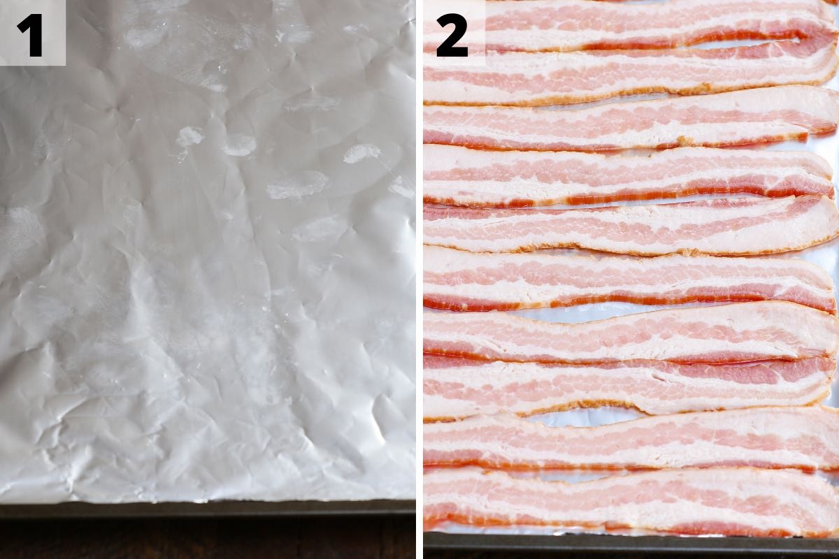 Oven baked bacon: step 1 and 2 photos.