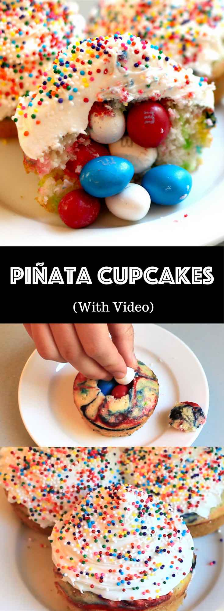 How To Make Party Surprise Piñata Cupcakes – an easy and fun party recipe with video tutorials that show you how to make piñata cupcakes. Surprise your guests with the hidden red, white and blue M&Ms inside these tie-dye cupcakes! So good! It's great for snack, parties, or dessert! Fourth of July recipe. Quick and easy recipe. Video recipe. | Tipbuzz.com