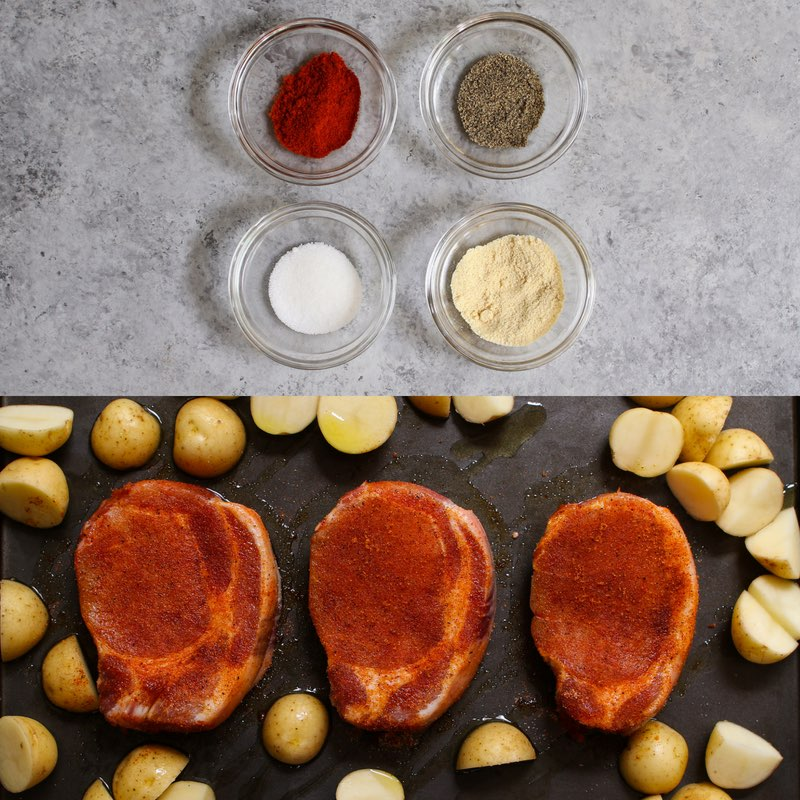 4-ingredient pork chop seasoning: garlic powder, paprika, salt & pepper