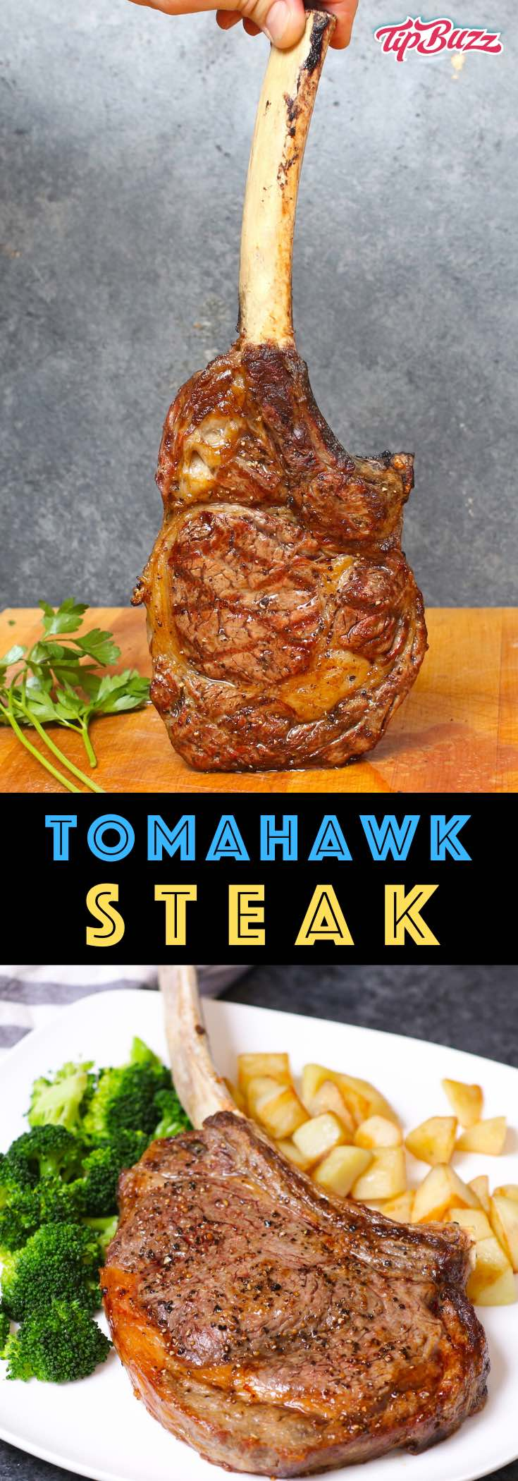 Tomahawk Steak is a steak lover's dream with tender and juicy ribeye meat and an extra-long bone for a dramatic presentation. This tomahawk ribeye is perfect for a special occasion like holidays, birthdays, Valentine's Day or more.