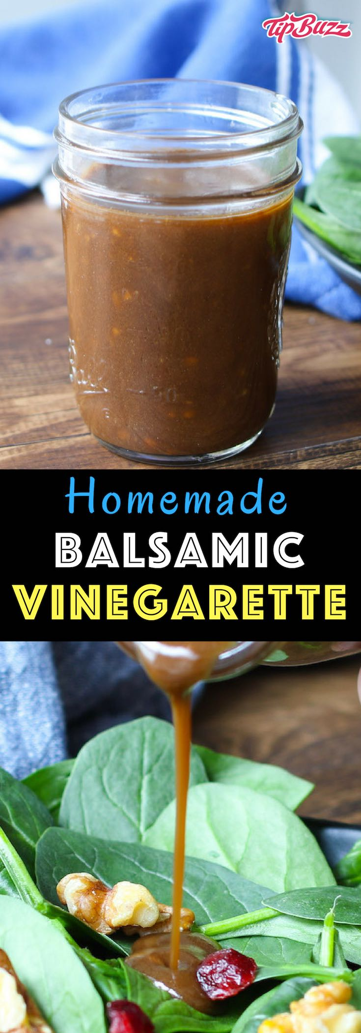 Easy balsamic vinaigrette works as a salad dressing, dipping sauce and more. Easy to make with balsamic vinegar, olive oil, mustard, minced garlic, salt and pepper.